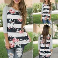 Women Autumn Long Sleeve Shirts Casual Blouse Loose Cotton Tops T-Shirts Tops