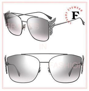Fendi FREEDOM 0380 Silver Oversized F Crystal Logo Metal Sunglasses FF0380S