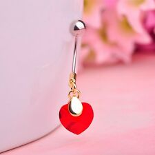 Love Heart Dangle Gem Crystal Red Ruby Belly Ring Navel Bar Body Piercing Steel