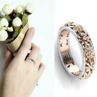 Weiß / Rose Gold gefüllt Inlay Kristall Hochzeit Verlobungsring Set Q1G4 S1C5