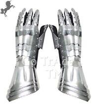 Functional Steel Metal Gauntlets Medieval Leather Gloves SCA Costume Gift