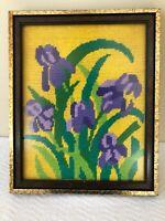 Framed Vintage Hand Stitched Needlepoint Floral Tapestry Tulip