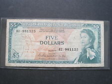 EAST CARIBBEAN $5 DOLLAR 1965 P14a SCARCE SIGN 1 #D BRITISH BANKNOTE PAPER MONEY