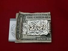 WESTERN $ GRANDPA $ MONEY CLIP~HAND ENGRAVED~GERMAN SILVER & JEWLERS BRONZE #905