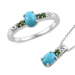 Arizona Sleeping Beauty Turquoise, Russian Diopside Platinum Over SS Ring 6 set