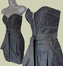 Karen Millen Blue Soft Denim Front Zip Strapless Knee Length Casual Dress 10 38