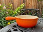 Le Creuset Cast Iron Orange Flame Handle Fondue Vintage 22 Excellent u
