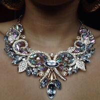 Rétro Faux Diamant Collier Boucles d'Oreilles Set Mode Cristal Mariage Bijoux
