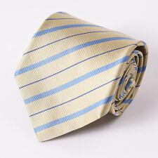 """New E.MARINELLA NAPOLI Yellow-Sky Blue Ribbon Stripe Classic 3.5"""" Silk Tie"""