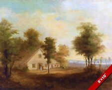 FARM COUNTRYSIDE HOME IN THE SUMMER LANDSCAPE PAINTING ART REAL CANVAS PRINT