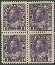 CANADA #112a 5¢ violet, Block of 4 NH VF Scott $270