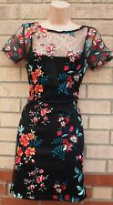 LIPSY BLACK MULTI COLOUR FLORAL LACE EMBROIDERED BODYCON PARTY TEA DRESS 8 S
