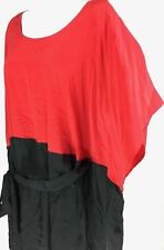 Lane Bryant Shirt Pull Over Short Sleeve Red Black Tie at Waist Womens 14/16 NWT