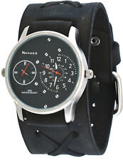 Nemesis KFXB220K Men's Charcoal Black Wide Leather Band Dual Time Zone Watch
