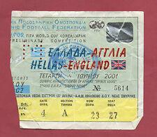 Orig.Ticket   WM Qualifikation  06.06.2001   GRIECHENLAND - ENGLAND  !!  SELTEN