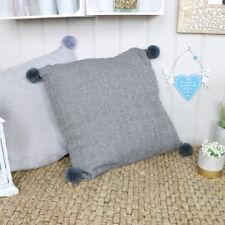 Dark grey pom pom scatter cushion living room bedroom soft furnishings gift