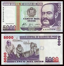 Peru  5000 Intis  28-6-1988  Pick 137  SC = UNC