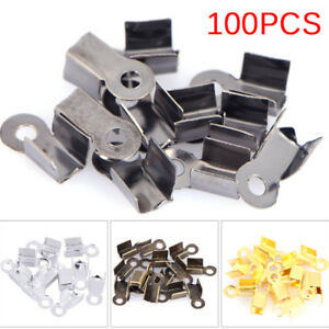 100PCS End Caps Clasps Leather Cord Crimp Bead Connectors DIY Jewelry Finding`hw
