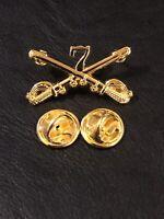 7th Cavalry Crossed Sabers Hat or Lapel Pin, Veteran Pin Hat pin