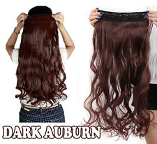 One Piece Clip in Full Head Curly Wavy Hair Extension Extensions Dark Auburn T32