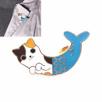 Creative Cat Fish Collar Pins Badge Corsage Cartoon Women Brooch Jewelry Gift