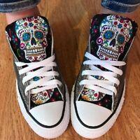 Damen Sneaker HIGH TOP Basic Canvas Turnschuhe Schnürer Freizeitschuhe Schuhe