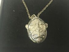 """Ape Gorilla Head GT182 Pewter On 16"""" Silver Plated Curb Necklace"""
