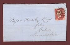 GB QV 1857 1d ROSE-RED SG40 C10 PLATE 61 KB FU ON ENTIRE LONDON TO COLNE E4
