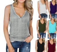 Women V Neck Tank Sleeveless Henley T-Shirt Button Up Ribbed Long Tunic Tee Tops
