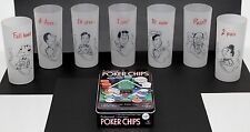 Set of 7 Vintage Gay Fad Poker Frosted Glasses + Poker Chips