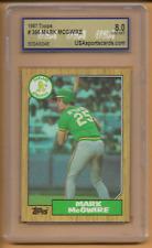 1987 Topps Rookie Mark McGwire Card #366 USA 8 Near Mint Oakland Athletics