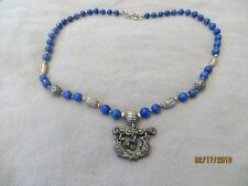 """Old Vintage Chinese Export Sterling Silver Lapis Beaded Fish charm Necklace 18"""""""