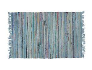 Sturbridge Rag Rug- 2' x 3' - 100% Cotton - color - Light Blue