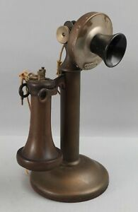 Antique Complete c1892 American Tel & Tel Candlestick Dial Telephone NO RESERVE