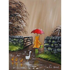 Pete Rumney Original Canvas Art Walking The Ducks Home Fun Hand Painted ARtwork
