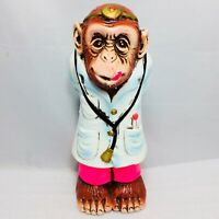 Vintage 1971 Ceramic Monkey Doctor Coin Bank Berrie Made in Japan Free Shipping
