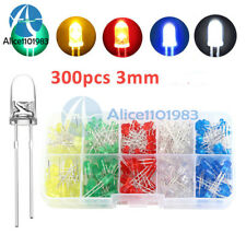300PCS 3mm Round LED Light White/Yellow/Red/Blue/Green Assortment Diodes Kit