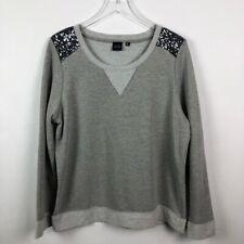 Saks Fifth Avenue Blue | Women's Gray Sequined Sweatshirt | Large