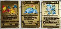 Blastoise Charizard Venusaur Gold 3-Pack 1st Edition Metal Replica Pokemon Cards
