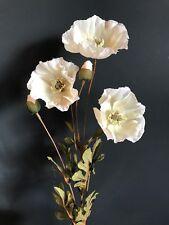 Tallo de 3 blanco de seda sintética amapolas, flores silvestres Prado Amapola Artificial