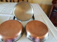 2 Vintage Revere Ware 9 Inch Copper  Bottom Stainless Steel Frying Pans 1 lid
