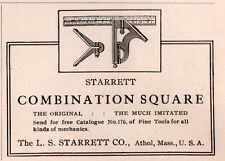 1915 ADS L S STARRETT CO ATHOL COMBINATION SQUARE