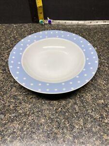 Beautiful Loveramics Blue Pastel Color Polka Dot Rimmed Soup/cereal Bowl..