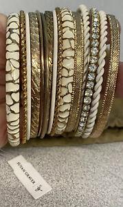 Susan Graver-Clear Crystals & Ivory Enamel~15 Goldtone Bangles-New With Bag