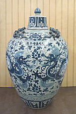 "Hand Made Blue Dragon Design Porcelain Ginger Jar Vase 18""h"