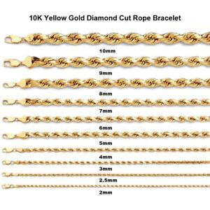 "Men's 10K Yellow Gold Rope Chain Wrist Bracelet 7"", 8"", 9"" - 2MM to 10MM"