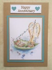 Handmade Anniversary card mice in boat & hearts Wedding Anniversary card