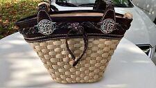 BRIGHTON Purse Shoulder Bag Straw Brown Croc Trim Braid Straps Heart Basket