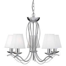 Searchlight 9825-5cc ANDRETTI Chrome 5 Lamp Pendant Light/White Faux Silk Shades