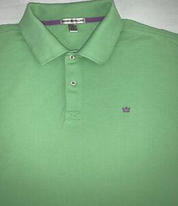 Peter Millar Polo Shirt Mens Large Green Short Sleeve Button Up